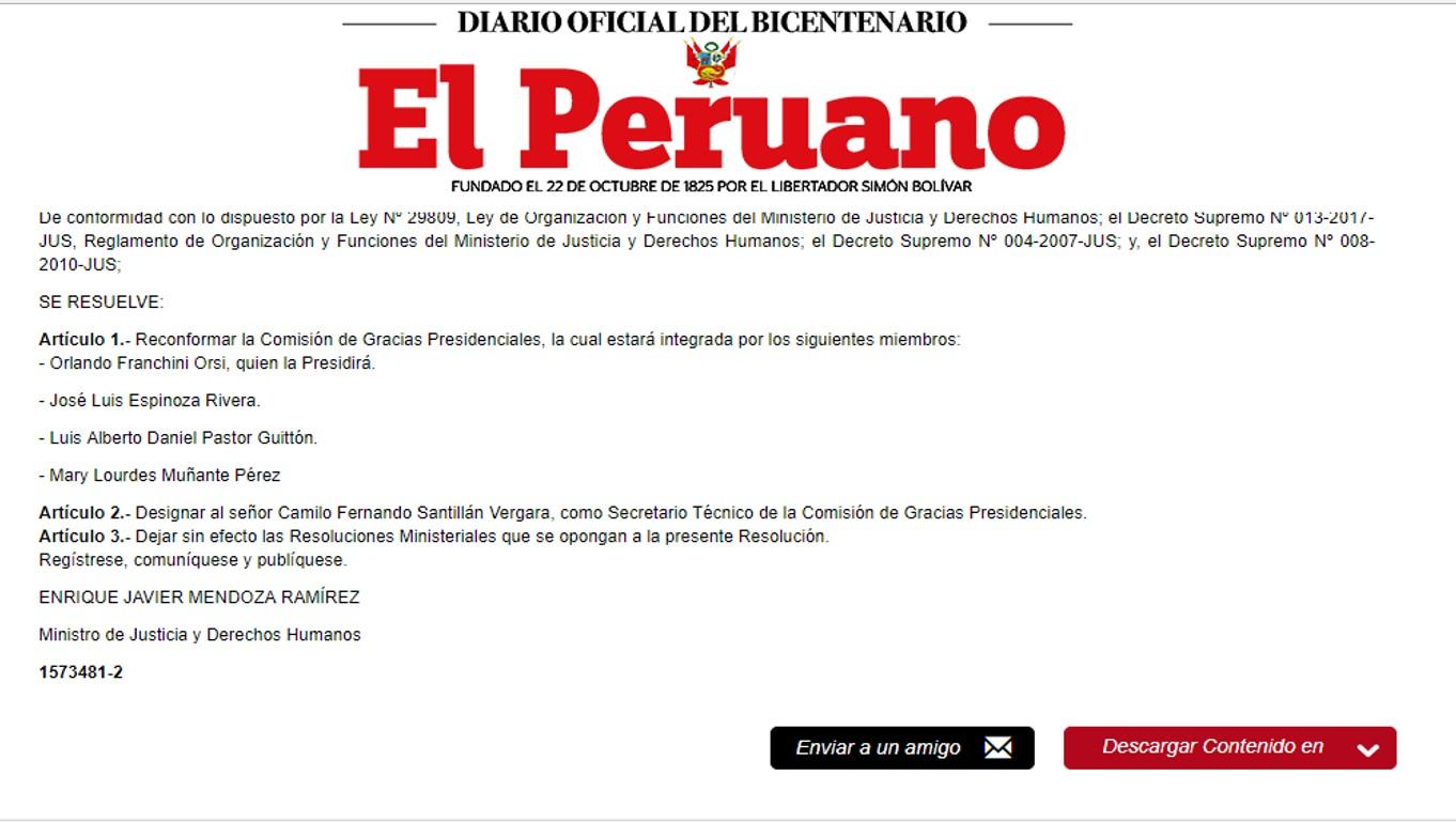 No existe ningún pedido de indulto a favor de Fujimori